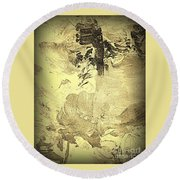 Ancient Melodies Round Beach Towel