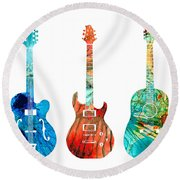 Abstract Guitars By Sharon Cummings Round Beach Towel