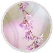 Abstract Higan Chery Blossom Branch Round Beach Towel