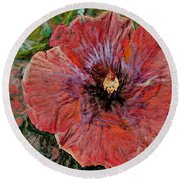 Abstract Hibiscus Round Beach Towel
