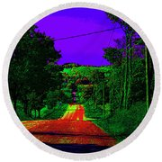 Abstract Highway Round Beach Towel by David Stasiak