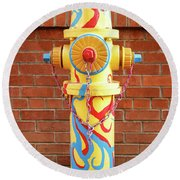 Round Beach Towel featuring the photograph Abstract Hydrant by James Eddy