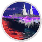 Abstract  Images Of Urban Landscape Series #14 Round Beach Towel