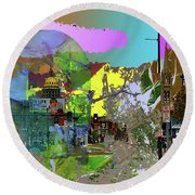 Abstract  Images Of Urban Landscape Series #5 Round Beach Towel