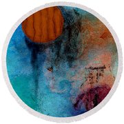Abstract In Blue And Brown Round Beach Towel by Desiree Paquette