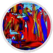 Abstract In Blue And Red Round Beach Towel
