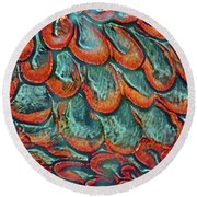 Abstract In Copper And Blue No. 7-1 Round Beach Towel