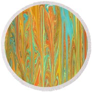 Abstract In Copper, Orange, Blue, And Gold Round Beach Towel