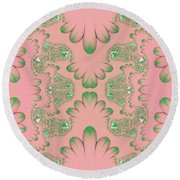 Round Beach Towel featuring the digital art Abstract In Pink And Green by Linda Phelps
