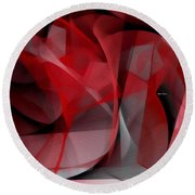 Round Beach Towel featuring the digital art Abstract In Red Black And White by Rafael Salazar