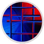 Abstract In Red/blue 3 Round Beach Towel