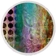 Abstract In Teal And Plum Round Beach Towel by Desiree Paquette