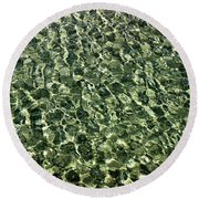 Round Beach Towel featuring the photograph Abstract Lake Reflections by LeeAnn McLaneGoetz McLaneGoetzStudioLLCcom