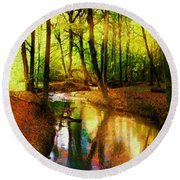 Abstract Landscape 0747 Round Beach Towel
