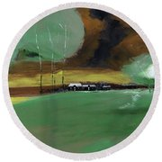 Round Beach Towel featuring the painting Abstract Landscape by Anil Nene