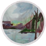 Abstract Landscape Round Beach Towel