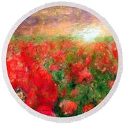 Abstract Landscape Of Red Poppies Round Beach Towel