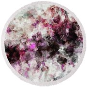 Round Beach Towel featuring the painting Abstract Landscape Painting In Purple And Pink Tones by Ayse Deniz