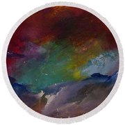 Abstract Landscape Red Bold Color Vertical Painting Round Beach Towel
