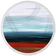 Round Beach Towel featuring the painting Abstract Landscape - Ruby Lake - Sharon Cummings by Sharon Cummings