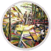 Abstract Landscape With People Round Beach Towel by Stan Esson