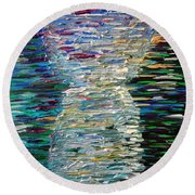 Abstract Latte Stone Round Beach Towel