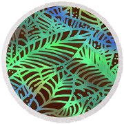 Abstract Leaves Cocoa Green Round Beach Towel