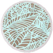Abstract Leaves Warm Taupe Aqua Round Beach Towel