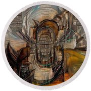 Abstract Liberty Round Beach Towel