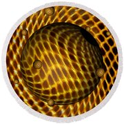 Round Beach Towel featuring the digital art Abstract - Life Grid by Glenn McCarthy Art and Photography