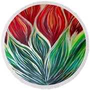 Abstract Lotus Round Beach Towel