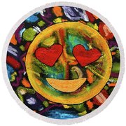 Abstract Love Round Beach Towel by Gerhardt Isringhaus