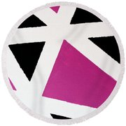 Abstract M1015bp Round Beach Towel