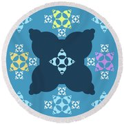 Abstract Mandala Blue, Dark Blue And Cyan Pattern For Home Decoration Round Beach Towel
