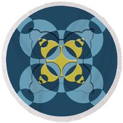 Abstract Mandala Blue, Dark Blue And Green Pattern For Home Decoration Round Beach Towel