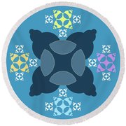 Abstract Mandala Blue, Orange And Cyan Pattern For Home Decoration Round Beach Towel