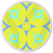 Abstract Mandala Cyan, Dark Blue And Green Pattern For Home Decoration Round Beach Towel