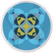 Abstract Mandala Cyan, Dark Blue And Yellow Pattern For Home Decoration Round Beach Towel