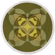 Abstract Mandala Green, Dark Green And Brown Pattern For Home Decoration Round Beach Towel