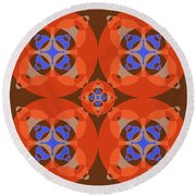 Abstract Mandala Orange, Brown, Blue And Cyan Pattern For Home Decoration Round Beach Towel
