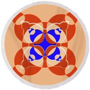 Abstract Mandala Pink, Orange And Blue Pattern For Home Decoration Round Beach Towel