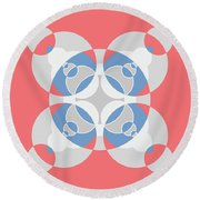 Abstract Mandala White, Pink And Blue Pattern For Home Decoration Round Beach Towel