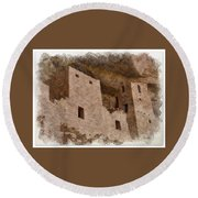 Round Beach Towel featuring the photograph Abstract Mesa Verde by Debby Pueschel