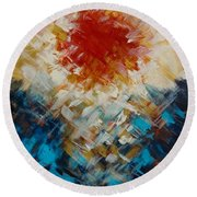 Abstract Blood Moon Round Beach Towel