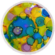 Round Beach Towel featuring the painting Abstract Microscope Party by Nikki Marie Smith