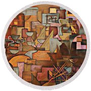 Abstract Mind Round Beach Towel