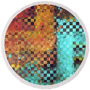 Round Beach Towel featuring the painting Abstract Modern Art - Pieces 1 - Sharon Cummings by Sharon Cummings