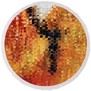 Round Beach Towel featuring the painting Abstract Modern Art - Pieces 8 - Sharon Cummings by Sharon Cummings