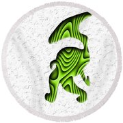 Abstract Monster Cut-out Series - Green Stroll Round Beach Towel