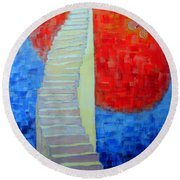 Round Beach Towel featuring the painting Abstract Moon by Ana Maria Edulescu